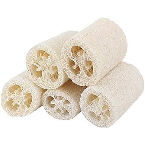 Pixnor Luffa Naturale doccia Scrubber portatile naturale Loofah Luffa Bagno Corpo Doccia Spugna Scrubber, confezione da 5