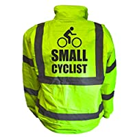 Small Cyclist Kids Hi Vis Yellow Bomber Jacket, Reflective High Visibility Safety Childs Coat, By Brook Hi Vis