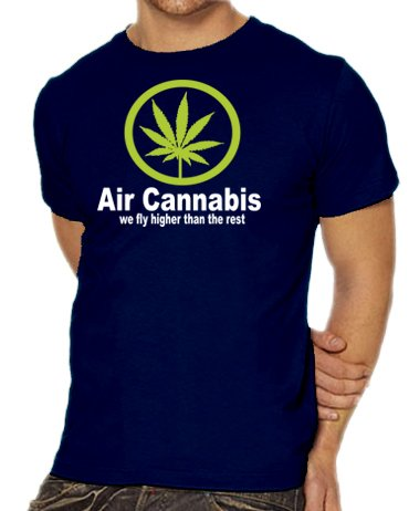Touchlines Unisex/Herren T-Shirt Air Cannabis - We fly higher than the rest, navy, L, B1541