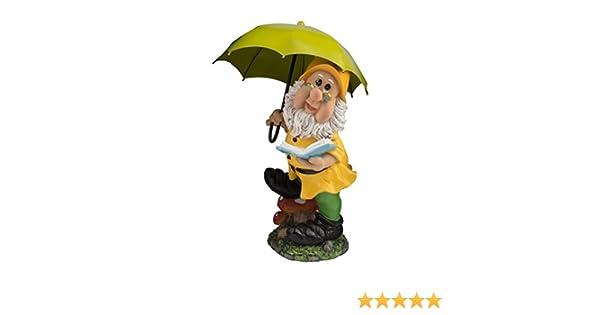 Gro/ßer Gartenzwerg mit dunkelgr/ünem Schirm und M/ütze 38,5 cm bunte Zwerg Figur f/ür Haus und Garten Gnom Schirm Gr/ün Dunkelgr/ün