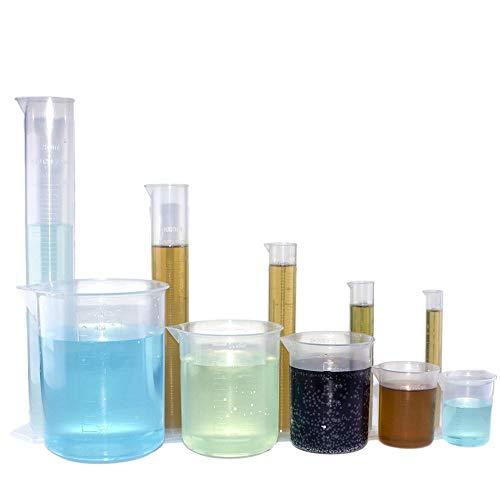 Chemielaborzubehör , Labor-Messbecherset Plastikmesszylinder und Becherset, bestehend aus 5 transparenten Plastikmesskegeln und 5 Sätzen Plastikbechersets