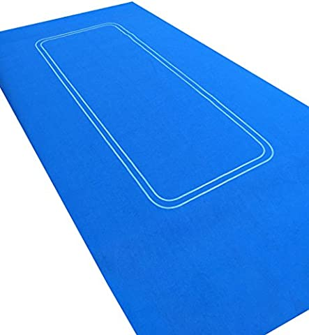 BRIGHT BLUE LARGE POKER CASINO FELT BAIZE LAYOUT - TEXAS HOLDEM 6 FT by 3FT