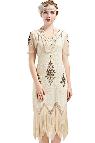 ArtiDeco 1920s Kleid Damen Flapper Kleid mit Kurzem Ärmel Gatsby Motto Party Damen Kostüm Kleid (Beige, XXL) (Cocktail Party Kostüm)