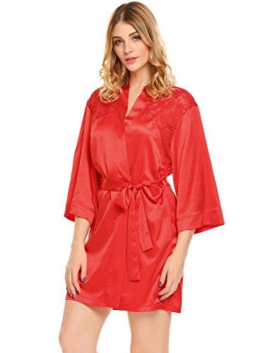 ADOME Damen Satin Kimono Nachthemd Nachtwäsche Morgenmantel Bademäntel mit Blumenspitze Brust/Rücken Rot760