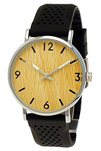 Flache Holzwerk Germany® Unisex Herren-Uhr Damen-Uhr Armband-Uhr Analog Klassisch Quarz-Uhr Schwarz Silber mit Silikon Kautschuk Armband und Holz Look Ziffernblatt