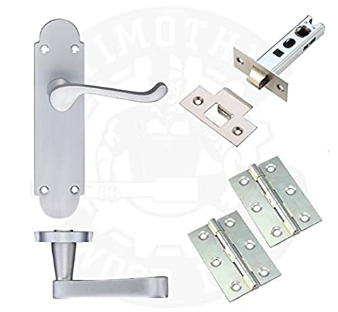 Satin Brushed Chrome Latch Door Handle Pack Bundle Set Internal Lever on Backplate with Hinges