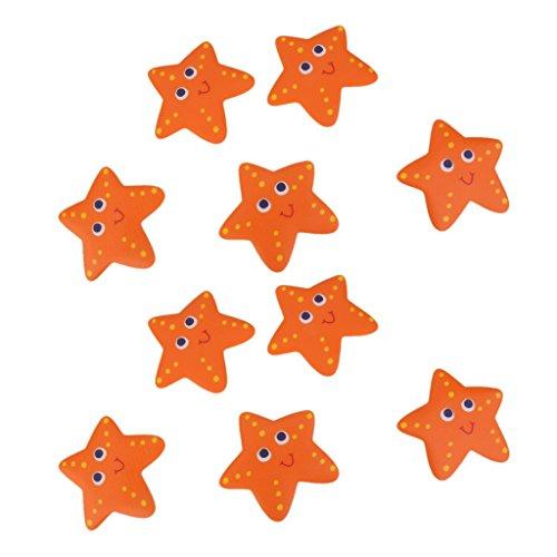 Sharplace 10x Anti-Rutsch Sticker für Badewanne, Dusche und Bad, Orange Seestern Form und selbstklebend. Antirutsch Aufkleber statt Badewanneneinlage oder Antirutschmatte
