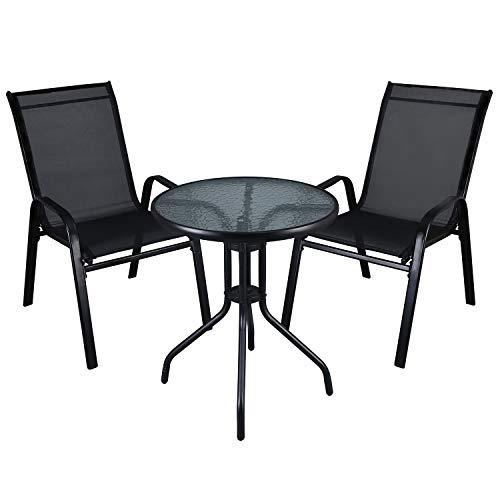 LXDUR - Juego de Muebles de jardín para Interiores y Exteriores, Mesa de Cristal y sillas de Respaldo Alto (3...