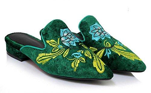 GLTER Femmes Chaussures à bout pointu vent national en daim à la suède pantoufles froides paresseuses Mules Green