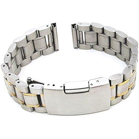 Creation® clásico de acero inoxidable reloj pulsera correa de la venda del color de la plata y el oro (recta) (24mm)