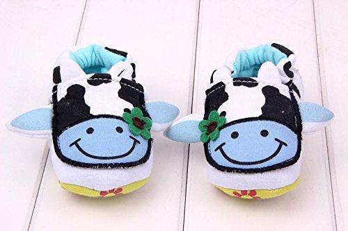 Bigood Liebe Krabbelschuhe Baby Schuh Kuh Form Lauflernschuhe Schnellverschluss Blau