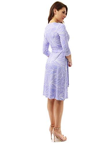 PattyBoutik Donne finto geometrica avvolgere un abito linea pervinca e bianco10
