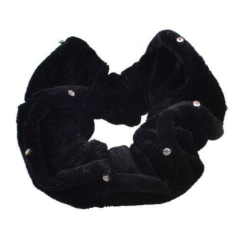 Schwarzes Mini-pferdeschwanz-halter (DealMux Mini Strass-Dekor Velvet elastischer Haar-Riegel-Pferdeschwanz-Halter, Schwarz, 0,03 Pfund)