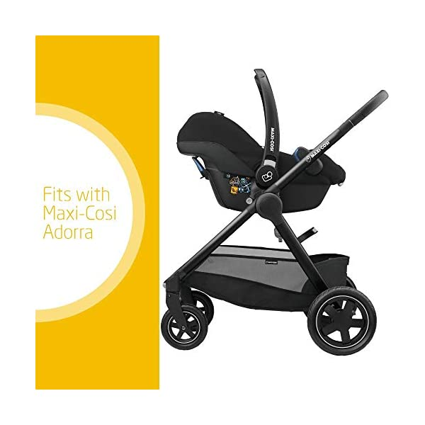 Maxi-Cosi Adorra Comfortable Urban Pushchair from Birth, Full Reclining Seat, 0 Months - 3.5 Years, 0 - 15 kg, Marble Plum with Rock Baby Car Seat Group 0+, ISOFIX, i-Size Car Seat, Rearward-Facing, 0-12 m, Nomad Black, 0-13 kg Maxi-Cosi Cocooning seat - the luxury of a large padded seat for baby Lightweight - a light stroller less than 12kg that makes walking effortless Baby car seat, suitable from birth to 13 kg (birth to 12 months) 2
