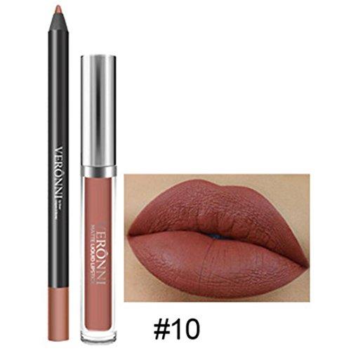 LONUPAZZ 2pcs Rouge à Lèvres Mat Liquide Longue Durée Lip Liner Waterproof Maquillage Cosmétiques Kit Sexy Lip Gloss (J)