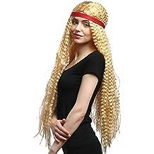 WIG ME UP ® - 90783-ZA02A Peluca señoras Carnaval venda roja hippie ondulada rubia super largo 75 cm