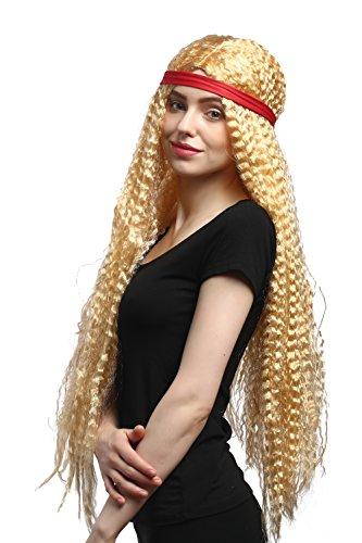 WIG ME UP - 90783-ZA02A Perücke Damen Karneval Fasching rotes Stirnband Hippie Blumenkind Goldblond gekreppt wellig super lang 75 cm