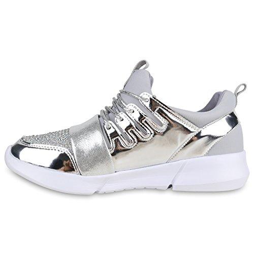 Damen Sportschuhe Runners Lack Metallic Laufschuhe Sneakers Silber Steinchen