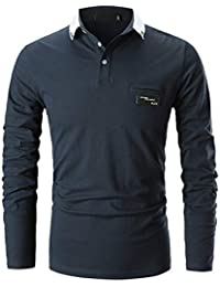 GHYUGR Casual Polo de Mangas Largas para Hombre Algodón Slim Fit Camiseta Camisas Deporte Golf Tennis T-Shirt Oficina Botón Cuello