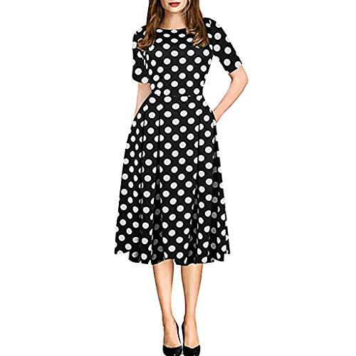 Honestyi Vintage Patchwork Taschen der Mode Frauen geschwollene Schwingen Druck beiläufiges Party Kleid Rundhals Kleiderrock mit Retro Stickerei und Blumendruck (Grau Prom Kleider Geschwollene)