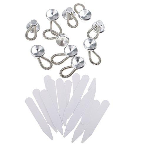 Sharplace 10er Metall Kragen Knopf Extender Jeans Hemd Taillenbund Expander +200 Stück Weißer Kragenstäbchen Plastikkragen Bleibt Knochenversteifungen Für Hemd