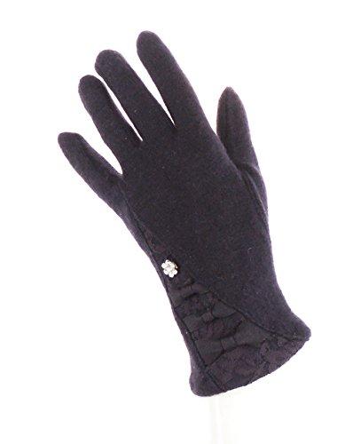 Pretty Mesdames Fashion en laine mélangé gants d'hiver chaud Violet - Aubergine 3 Bows