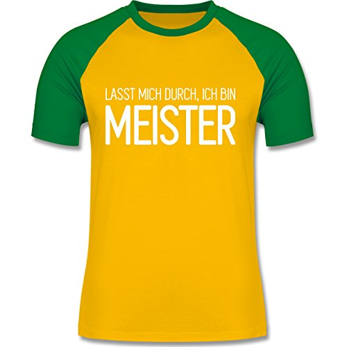 Handwerk - Lasst mich durch, ich bin Meister - zweifarbiges Baseballshirt  für Männer Gelb/