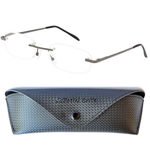 Leichte Metall Lesebrille Randlos mit Ovalen Gläsern - inklusive GRATIS Etui und Brillenputztuch | Edelstahl Rahmen (Graphit) mit Federscharnier | Lesehilfe für Damen und Herren | +1.5 Dioptrien