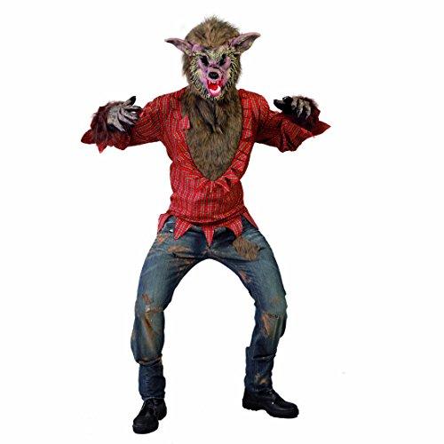 Vestito da licantropo travestimento di halloween da lupo mannaro l 52/54 - mascheramento spaventoso da bestia costume di halloween da lupo cattivo outfit pauroso da mostro abito da fiera per uomini