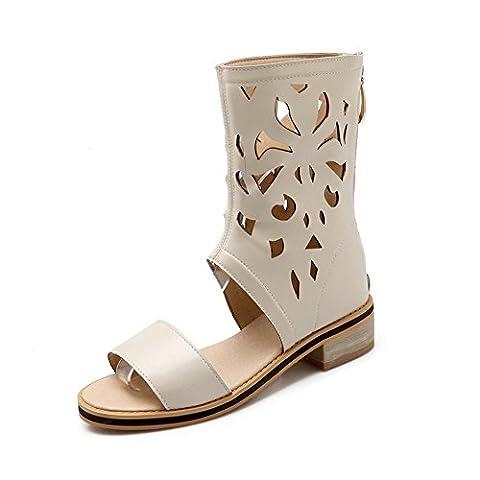 balamasa filles Hollow Out Roman style imitation cuir Sandales - Beige - beige, 36