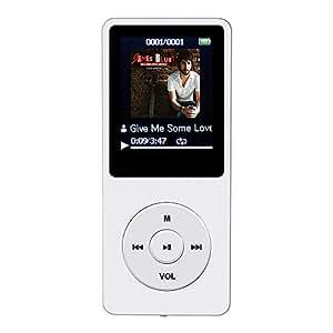 """AGPTek A02 IL lettore MP3 8 GB schermo 1,8"""" con Radio e registratore, Il tempo di riproduzione è fino a 70 ore,Bianco"""