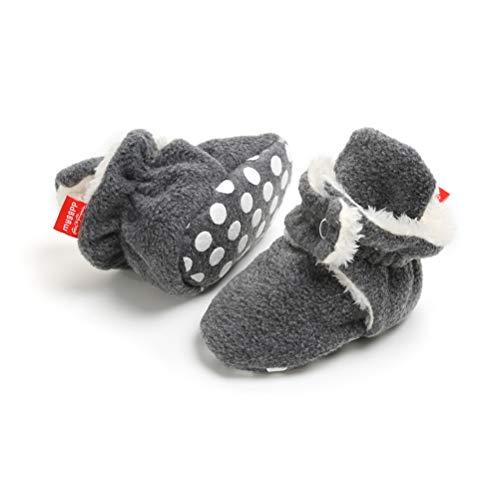 EDOTON Unisex Neugeborenes Schneestiefel Weiche Sohlen Streifen Bootie Kleinkind Stiefel Niedlich Stiefel Socke Einstellbar (6-12 Monate, Marinegrau)