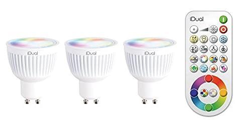 Jedi JE0192883 I-DUAL Lot de 3 Ampoules avec Télécommande Acier/Plastique 6,5 W GU10 Blanc 6 x 5 x 5 cm