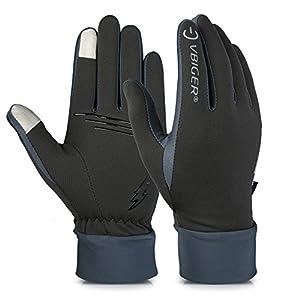 Vbiger Hombre Guantes de pantalla táctil Guantes con Dedos Completas Guantes para Conducción Ciclismo Alpinismo Moto al aire libre (L, Gris)
