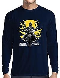 lepni.me Camiseta de Manga Larga para Hombre para Siempre EN Motocicleta, Vida eterna