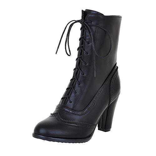 Riou Damen Klassische Spitzleder Schnürstiefel mit Hohem Absatz Middle Röhre Elegant Freizeit Ankle Schuhe Boots (41 EU, Schwarz)