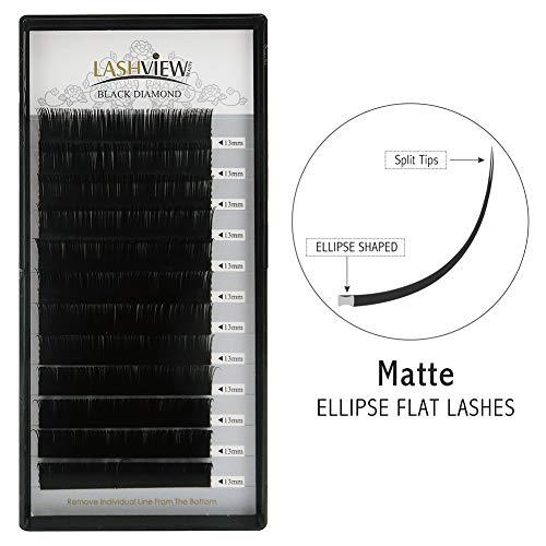 95b0ade9a9d LASHVIEW 0.15mm SUPER MATTE Flat Black Ellipse Eyelash Extensions D Curl  13mm Extremely Soft Application
