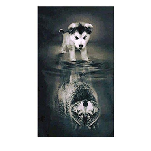 Providethebest Stickerei Handwerk Hund Spiegelung Malerei Kreuzstich-Büro-Dekor Bild 5D DIY Needlework Stitchwork Zeichnung 20x30cm