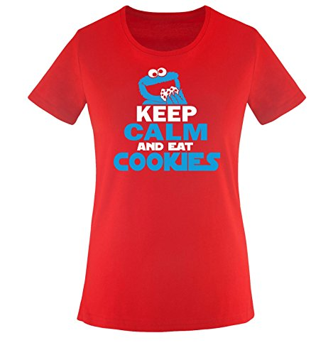 Comedy Shirts - KEEP CALM AND EAT COOKIES - Damen T-Shirt - Rot / Weiss-Blau Gr. - Cookies Wanderer