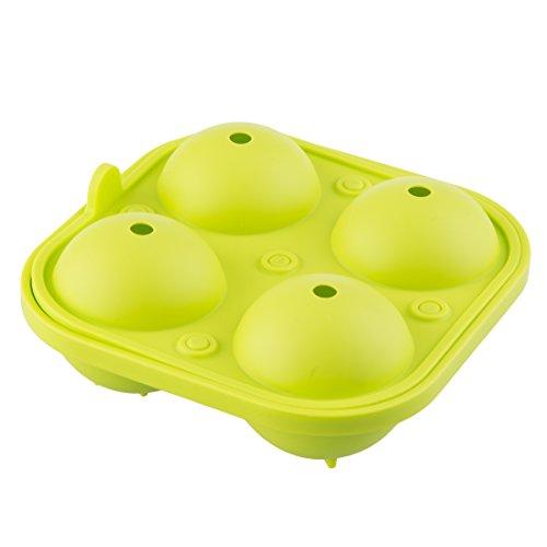 Levivo Silikon Eiswürfelform für 4 große Eiskugeln, Silikonform für 4 runde Eiswürfel / Eiskugeln mit einem Durchmesser von je ca. 6,5 cm, 2-teilige Form, bestehend aus Basis und Deckel, Grün