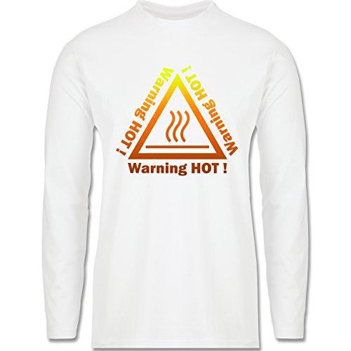 Sprüche - Warning hot - Longsleeve / langärmeliges T-Shirt für Herren Weiß
