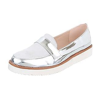 Slipper Damen-Schuhe Low-Top Moderne Ital-Design Halbschuhe Silber, Gr 39, A02-3-