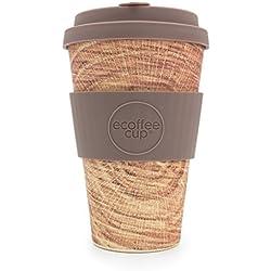 Ecoffee Cup Stein und Holz Jack O'Toole - Taza de café de bambú reutilizable, 400 ml, diseño de madera