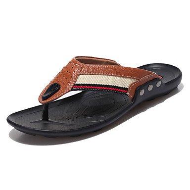 Sandales d'été hommes décontractées Chaussons en cuir bleu/marron/jaune/orange Brown