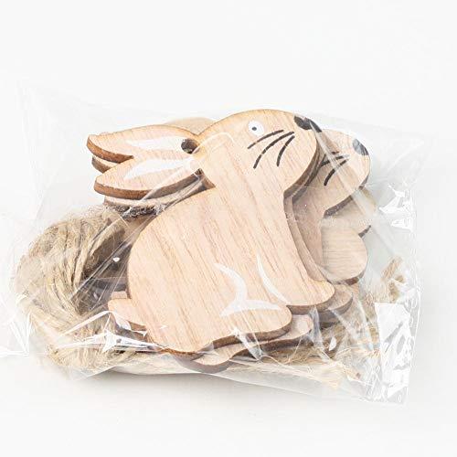 Wovemster Decorazioni Pasquali – JM01126 Coniglio e Fiori In Legno, Ciondolo Stile Nordico Decorazioni per La Casa 8 Pezzi/Pacco - 6
