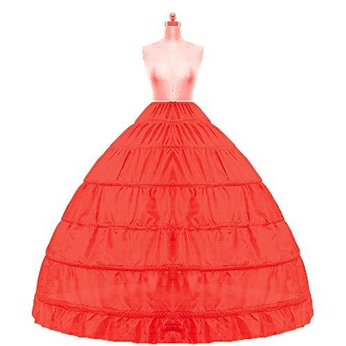 für Kleider Braut Petticoat Damen Krinoline Unterrock Slips für Brautkleider,Red ()