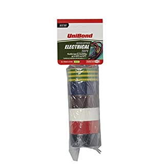 UniBond Insulating Electrical Tape Multipack / Duct tape in yellow/green, black, white, blue, red and brown / 6 x 19mm x 3.5m