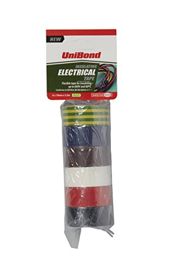 unibond-insulating-electrical-tape-multipack-duct-tape-in-yellow-green-black-white-blue-red-and-brow