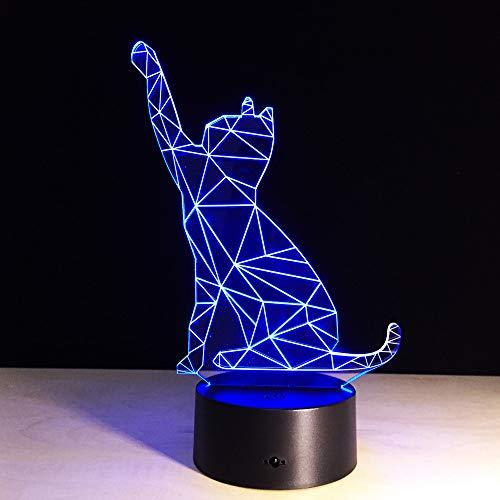 3D Lampe Nachttischlampe Nachtlicht Geometrische Katze Schreibtisch Tischlampe fürs Kind Kinderzimmer LED Lampe Wohnzimmer Schlafzimmerdekoration,Touch switch