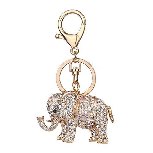 Ruiboury Clave Elefante Llavero Cristal Rhinestone